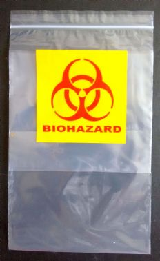 """Biohazard"" 2 Colour Print Ziplock Bags 5.5 x 5.5 +8"" pocket - 1,000 per box (BH55)"